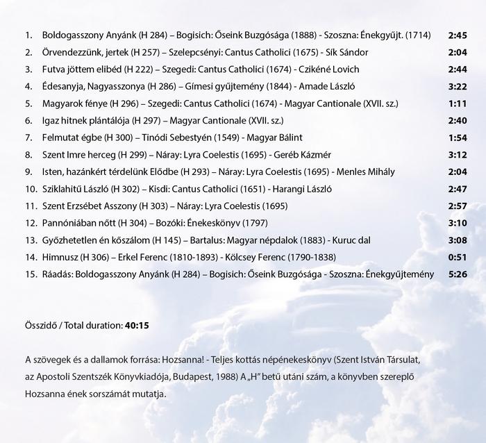"""Benkő András: """"Magyarországról, édes hazánkról…"""" - Katolikus Hozsanna énekek magyar szentekről (CD)"""